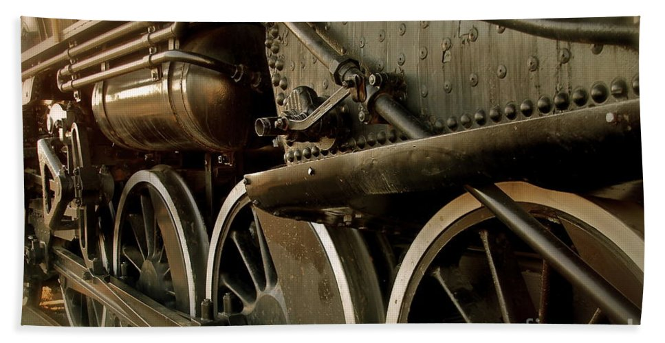 Train Bath Towel featuring the photograph Old Timer by Rick Monyahan