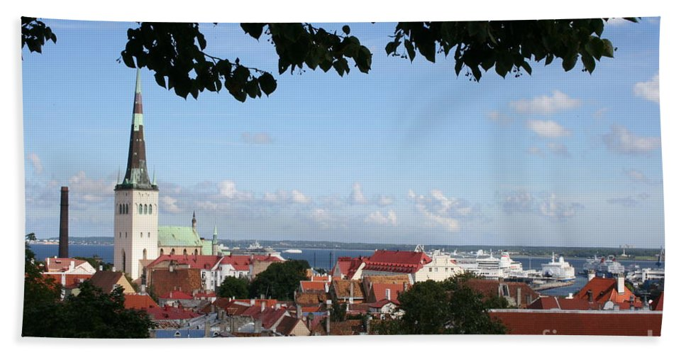 Old Town Hand Towel featuring the photograph Old Town And Harbor - Tallinn by Christiane Schulze Art And Photography