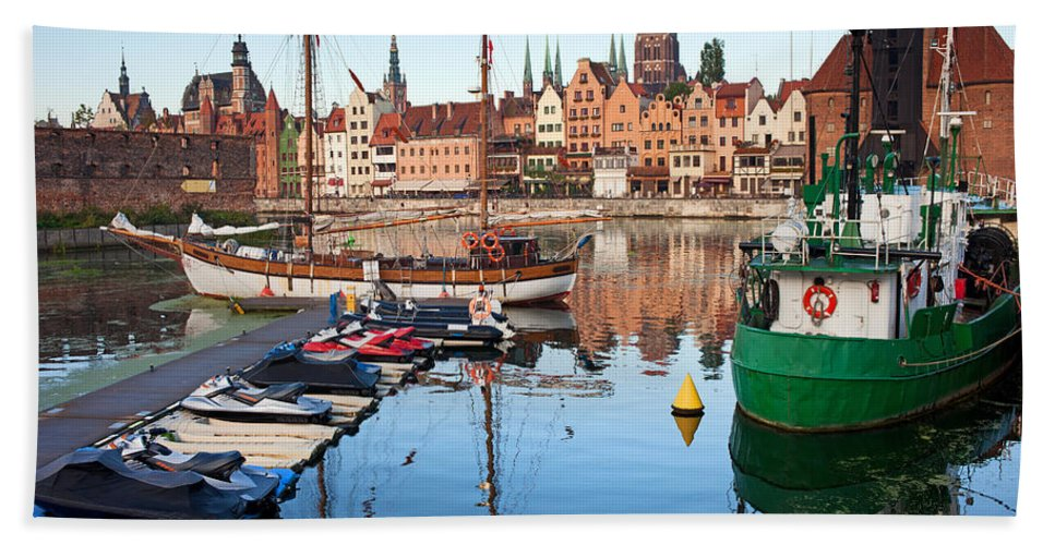 Gdansk Hand Towel featuring the photograph Old Town Of Gdansk Skyline And Marina by Artur Bogacki