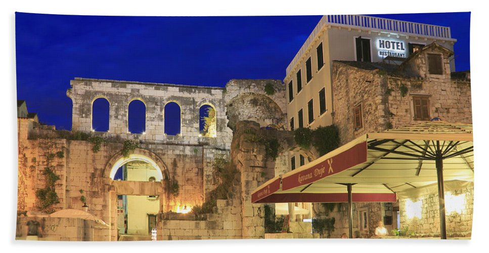 Adriatic Bath Sheet featuring the photograph Old Town Of Split At Dusk Croatia by Ivan Pendjakov
