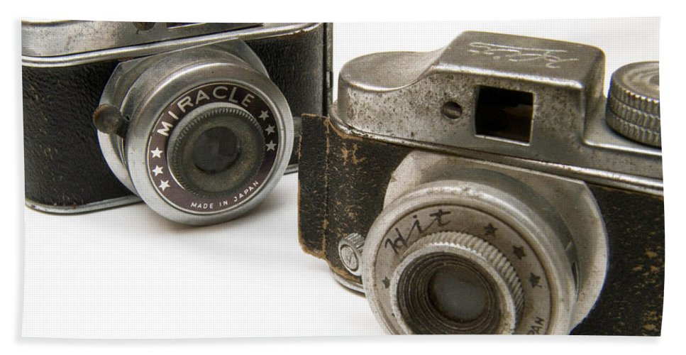 Antique Hand Towel featuring the photograph Old Toy Cameras by Amy Cicconi