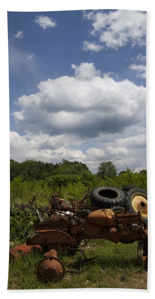 Tractors Hand Towel featuring the photograph Old Tractor Junkyard by Kathy Clark