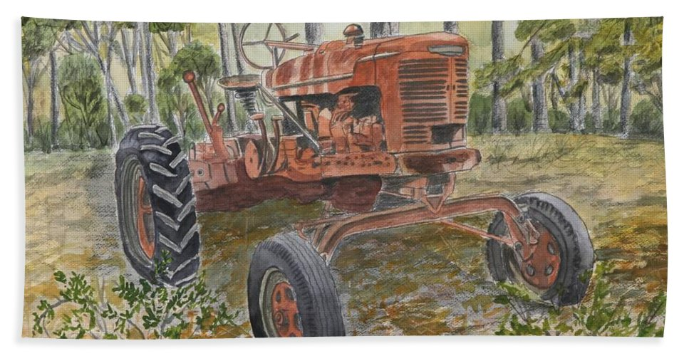 Old Hand Towel featuring the painting Old Tractor Vintage Art by Derek Mccrea