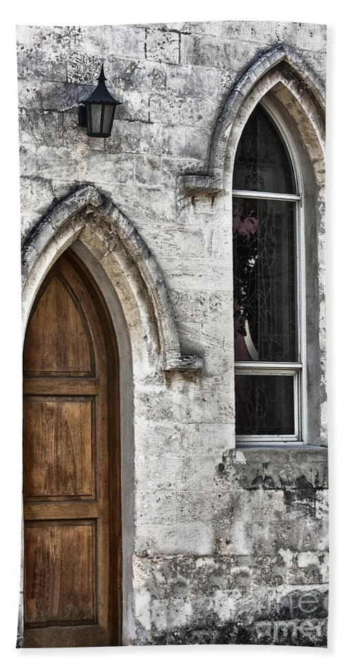 Building; Church; Closed; Gothic; Door; Ornamental; Stained Glass; Outside; Religious; Arch; Sanctuary; Light; Arched; Archway; Dark; Old; Aged; Chapel; Doorway; Entrance; Facade; Secluded; Stone; Wood; Religious; Religion Hand Towel featuring the photograph Old Traditions by Margie Hurwich