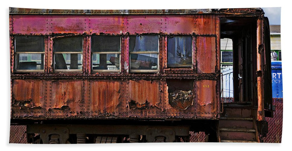 Railroad Bath Towel featuring the photograph Old Train Car by Garry Gay