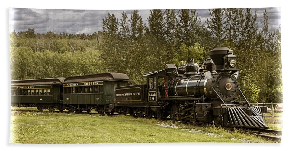 Landscape Bath Sheet featuring the photograph Old Train Steam Engine At The Fort Edmonton Park by Randall Nyhof