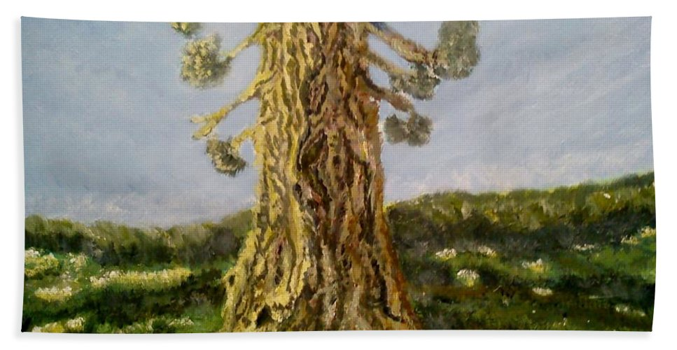 Tree In Spring Hand Towel featuring the painting Old Tree In Spring Light by Felicia Tica