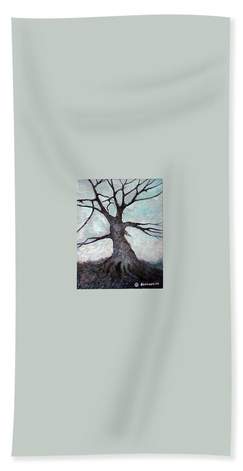 Landscape Hand Towel featuring the painting Old Tree by Sergey Bezhinets