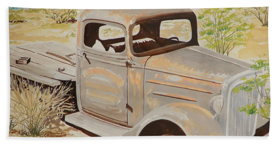 Old Truck 32 Chevy Flat Bed Hand Towel featuring the painting Old Truck by John Wilson