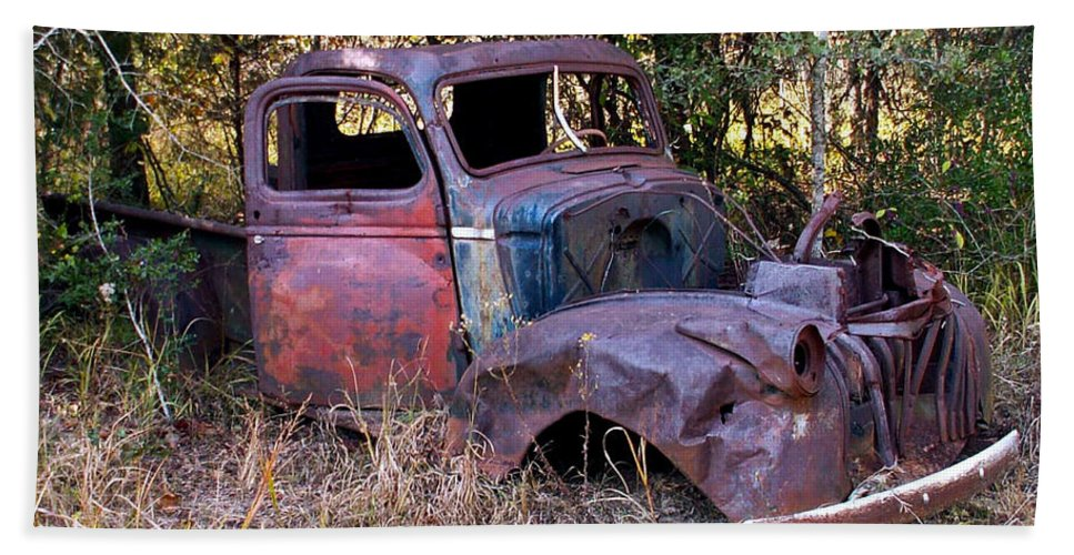 Truck Hand Towel featuring the photograph Old Truck - Purtis Creek by Allen Sheffield