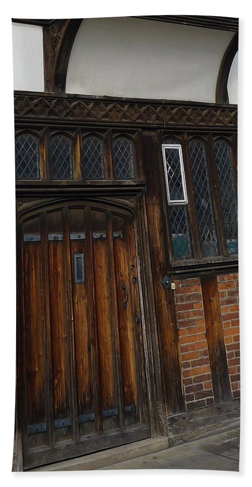 Stratford-upon-avon Bath Sheet featuring the photograph Old Tudor Doorway by Denise Mazzocco