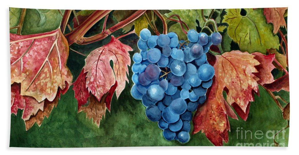 Grapes Hand Towel featuring the painting Old Vine Zinfandel by Debbie Hart