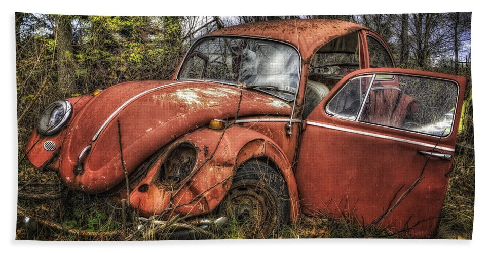 Junkyard Hand Towel featuring the photograph Old Vw by David B Kawchak Custom Classic Photography