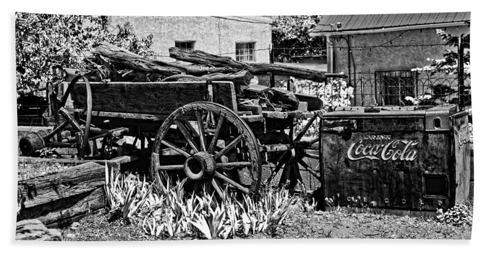 New Mexico Hand Towel featuring the photograph Old Wagon And Cooler by Timothy Hacker