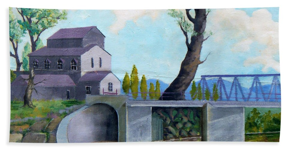 Old Hand Towel featuring the painting Old Water Mill by Sergey Bezhinets