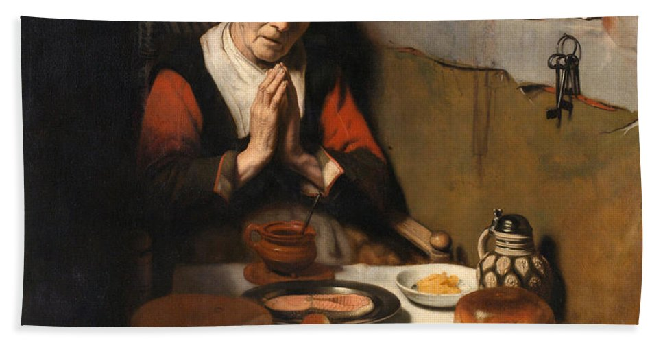 Nicolaes Maes Bath Sheet featuring the painting Old Woman At Prayer by Nicolaes Maes