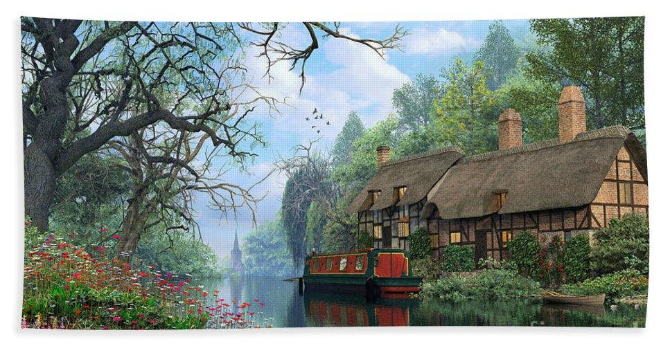 Romantic Bath Sheet featuring the digital art Old Woodland Cottage by Dominic Davison