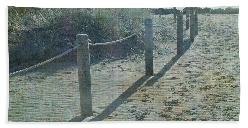 Beach Antiqued Hand Towel featuring the photograph Olde Worlde Beach by Jocelyn Friis