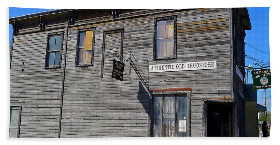 Authentic Old Drug Store Bath Sheet featuring the photograph Oldest Drug Store by Denise Mazzocco
