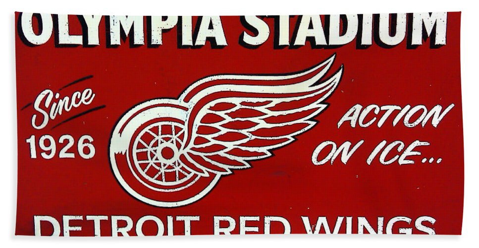 Olympia Stadium - Detroit Red Wings Sign Bath Sheet featuring the photograph Olympia Stadium - Detroit Red Wings Sign by Bill Cannon
