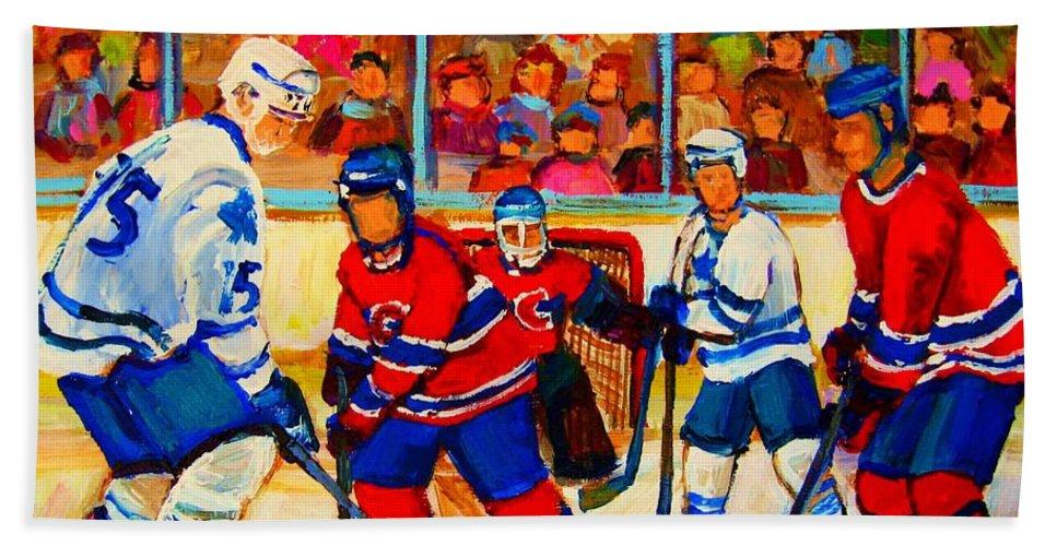 Hockey Bath Sheet featuring the painting Olympic Hockey Hopefuls Painting By Montreal Hockey Artist Carole Spandau by Carole Spandau