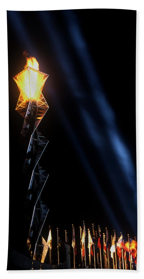 Photography Hand Towel featuring the photograph Olympic Torch At Night During The 2002 by Panoramic Images