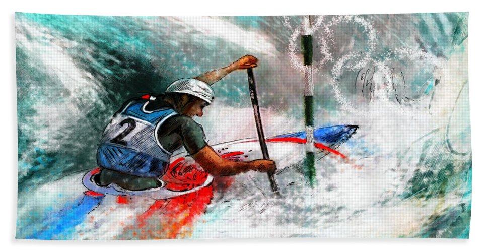 Sports Bath Sheet featuring the painting Olympics Canoe Slalom 02 by Miki De Goodaboom