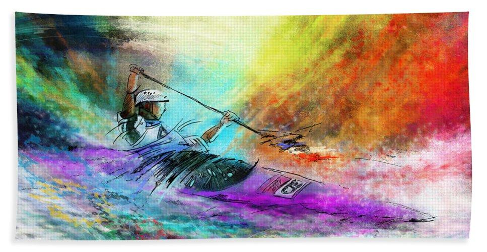 Sports Bath Sheet featuring the painting Olympics Canoe Slalom 03 by Miki De Goodaboom