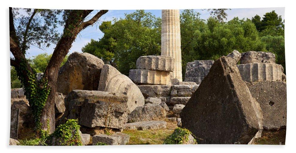 Ancient Bath Sheet featuring the photograph Olympus Ruins by Brian Jannsen