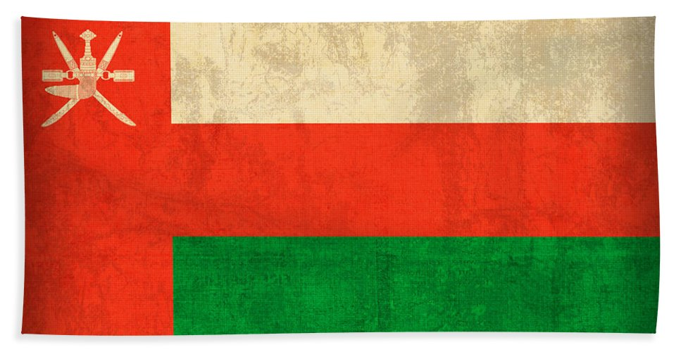 Oman Hand Towel featuring the mixed media Oman Flag Vintage Distressed Finish by Design Turnpike