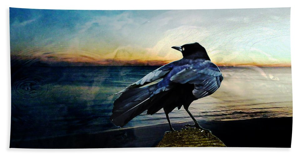 Crow Hand Towel featuring the digital art Omen by Lizi Beard-Ward