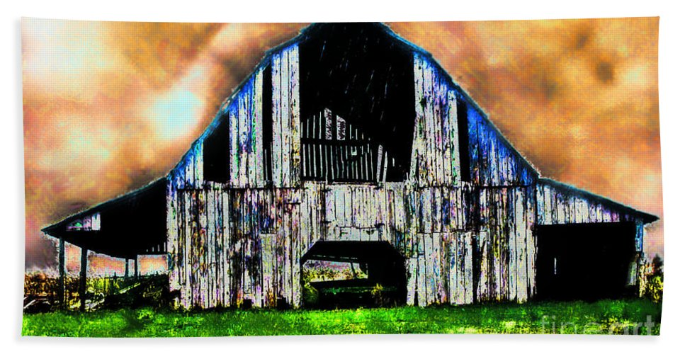 Arcitecture Bath Sheet featuring the photograph Ominous Sky Barn Photoart by Debbie Portwood