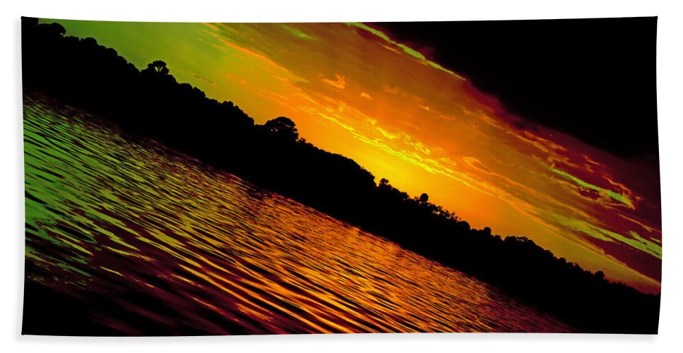 Sunset Hand Towel featuring the photograph Ominous Sunset by DigiArt Diaries by Vicky B Fuller