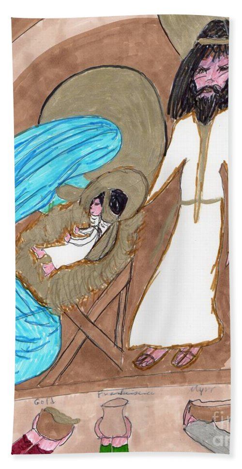 Manger And Gifts From 3 Wise Men Bath Towel featuring the mixed media On A Cold Winters Night by Elinor Helen Rakowski