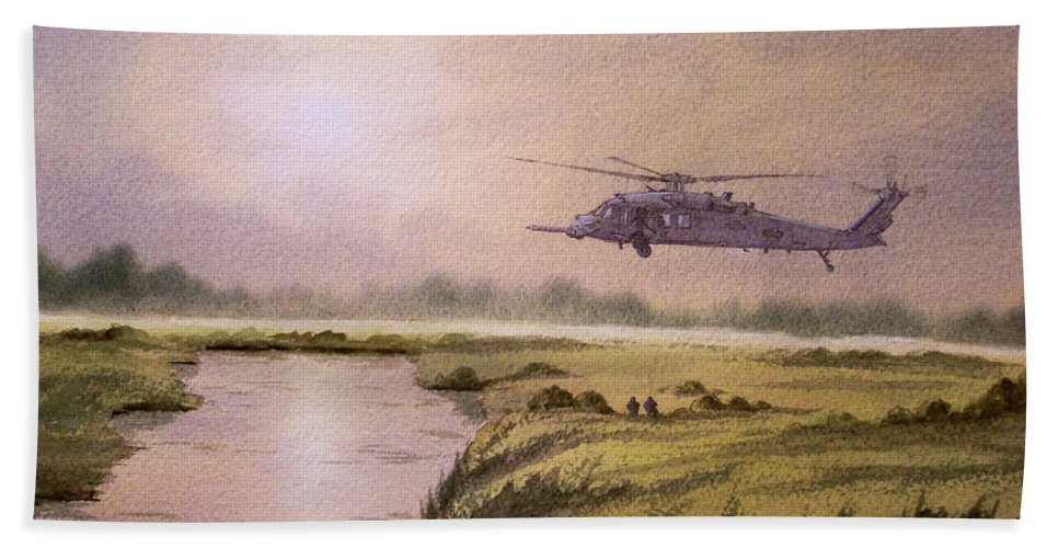 Helicopter Hand Towel featuring the painting On A Mission - Hh60g Helicopter by Bill Holkham