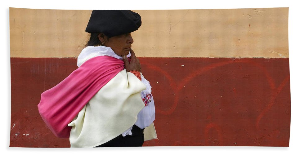 People Bath Sheet featuring the photograph On An Errand In Otavalo by Kurt Van Wagner
