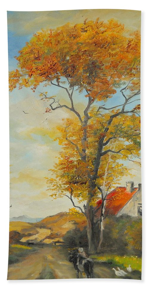 Tree Bath Sheet featuring the painting On Country Road by Sorin Apostolescu