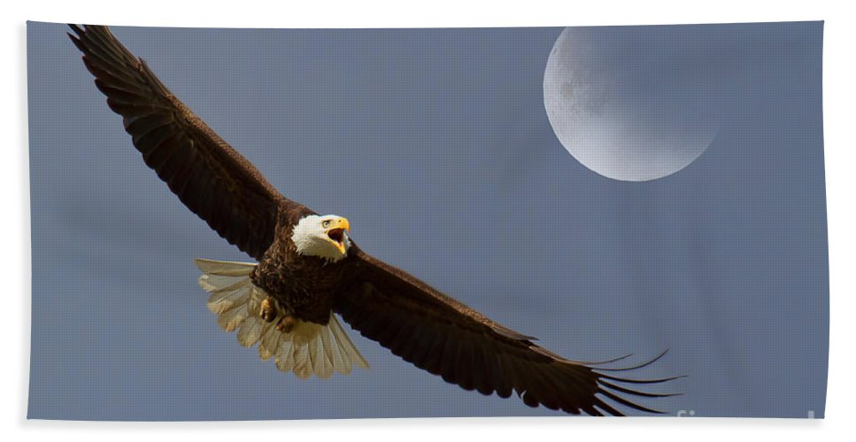 Eagles Bath Sheet featuring the photograph On Eagle's Wings by Jim Garrison