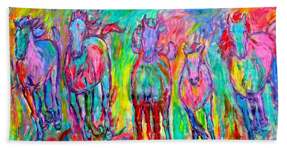 Horse Hand Towel featuring the painting On Fire by Kendall Kessler