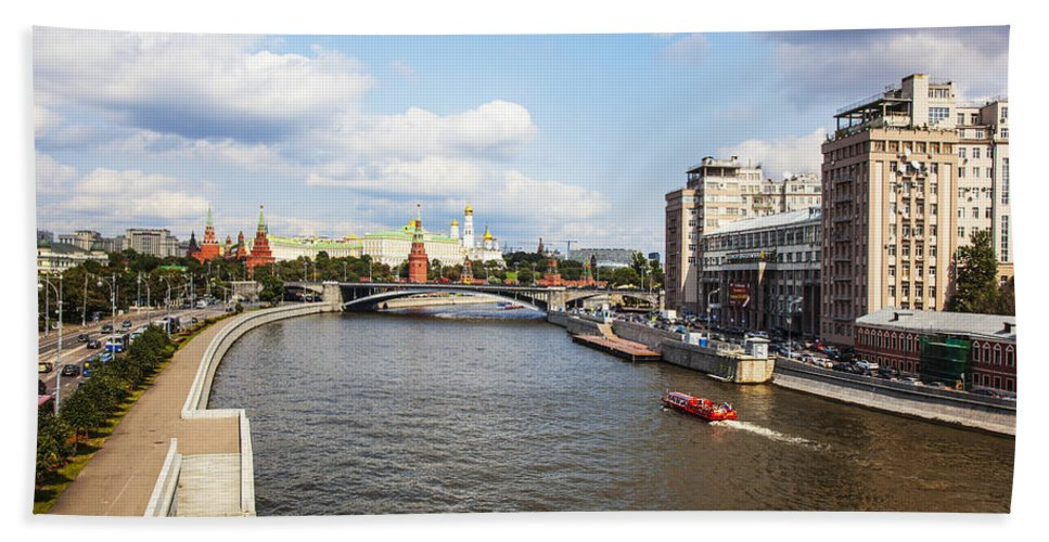 Moscow River Bath Sheet featuring the photograph On Moscow River - Russia by Madeline Ellis