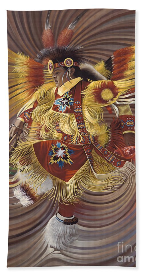 Sacred Bath Towel featuring the painting On Sacred Ground Series 4 by Ricardo Chavez-Mendez