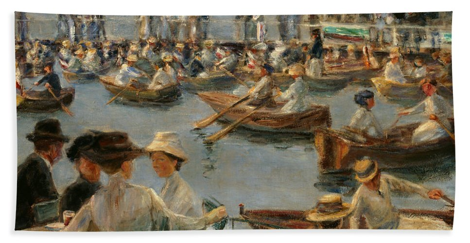 Max Liebermann Bath Sheet featuring the painting On The Alster In Hamburg by Max Liebermann