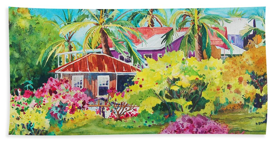Miloli'i Hand Towel featuring the painting On The Big Island by Terry Holliday