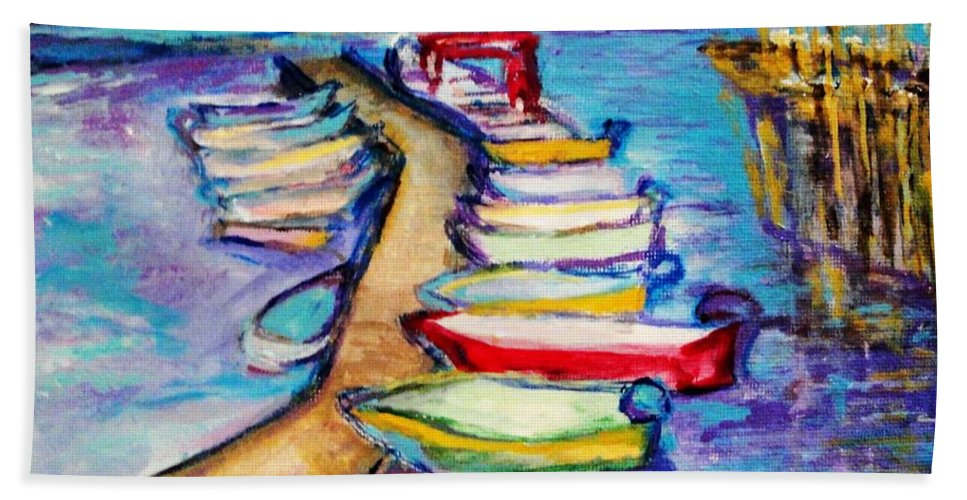 Sailboard Bath Sheet featuring the painting On The Boardwalk by Helena Bebirian