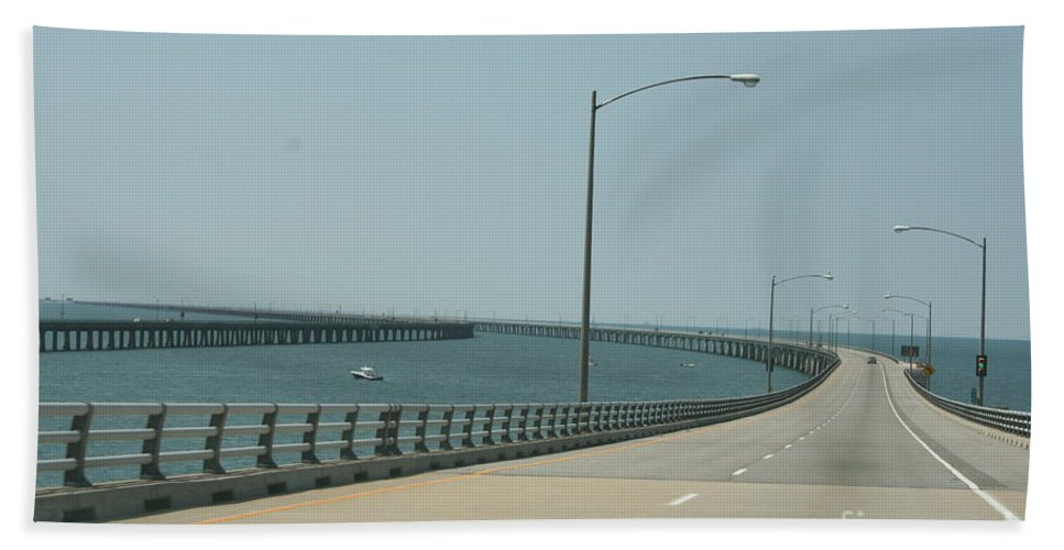 Bay Bath Sheet featuring the photograph On The Chesapeake Bay Bridge by Christiane Schulze Art And Photography