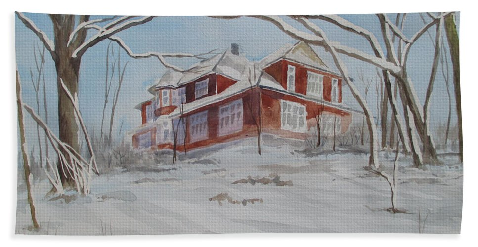 Winter Landscape Bath Sheet featuring the painting On The Edge by Martin Howard