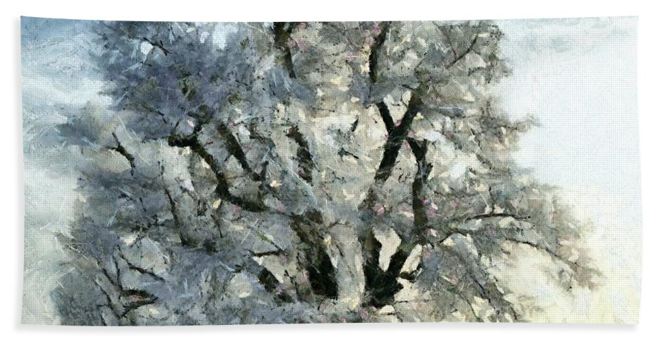 Tree Hand Towel featuring the painting On The Edge Of The Marsh by Dragica Micki Fortuna