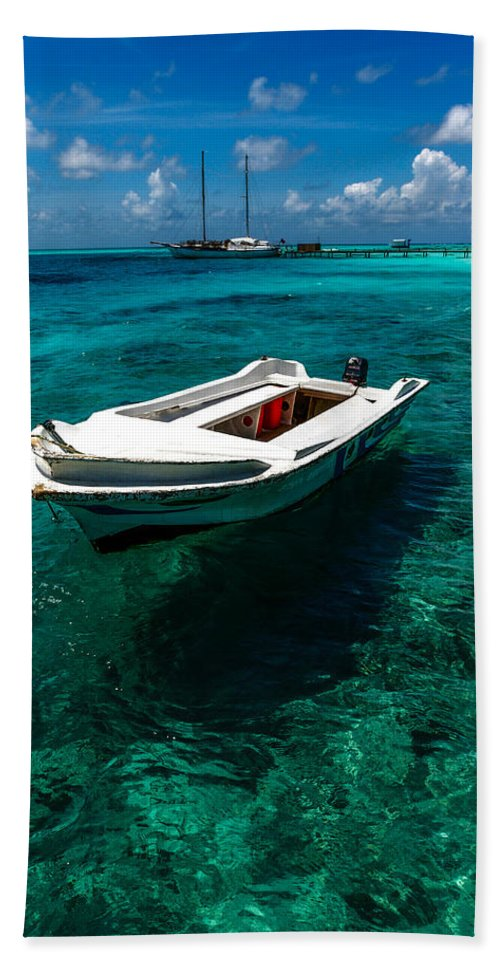 Small Bath Sheet featuring the photograph On The Peaceful Waters. Maldives by Jenny Rainbow