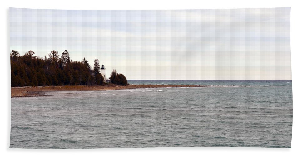 Presque Isle Hand Towel featuring the photograph On The Point by Linda Kerkau