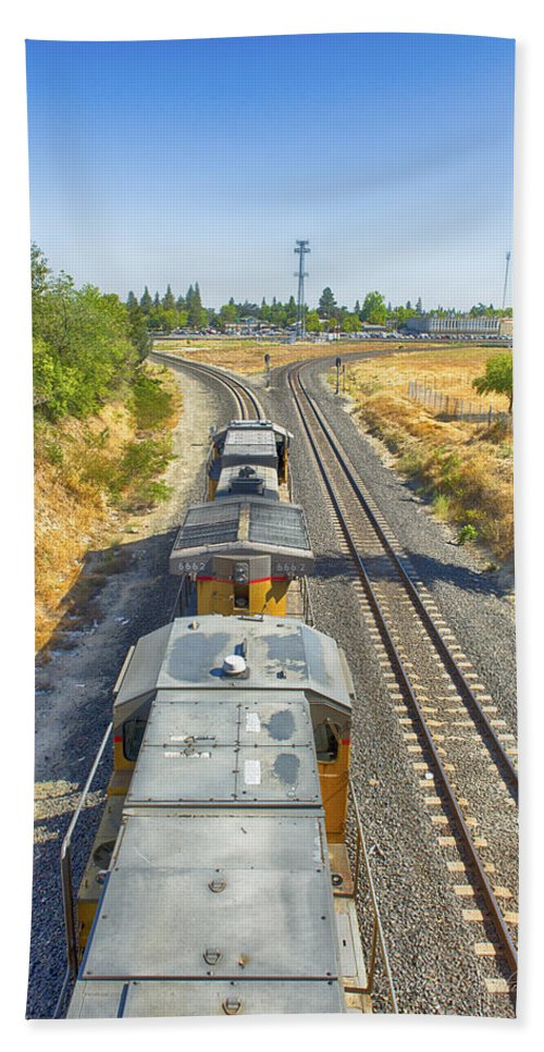 Transportation Hand Towel featuring the photograph On The Right Track by Jim Thompson